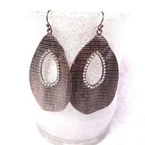 Avon Hematite Earrings tear drop shape